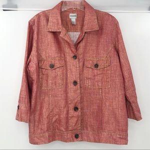 Chico's metallic orange bronze button jacket 2